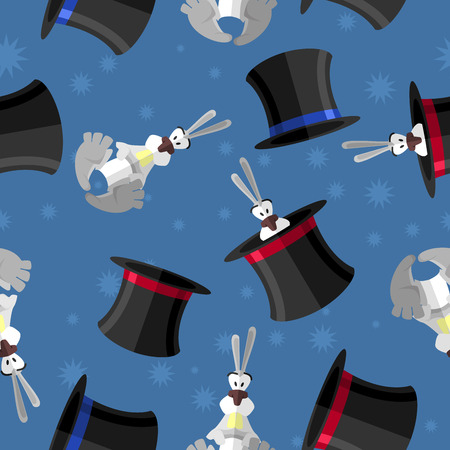 conejo: Conejo en el sombrero sin patrón. Vector de fondo para la presentación mágica. atributos mago: conejo y el sombrero Vectores
