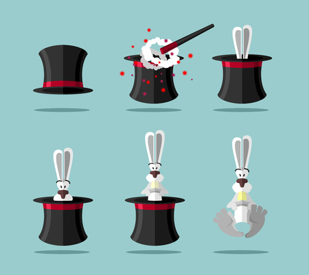 Set magician: wand Topper and rabbit. Vector icon