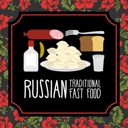 russian food: Russian traditional fast food. Vodka and sausage. Russian Folk floral ornament. Illustration