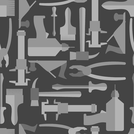 drawed: Seamless Construction Hand tools pattern. Illustration