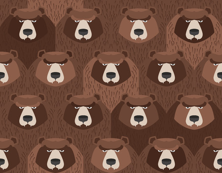 flock of bears. Seamless pattern of animals. Vector background Ilustração