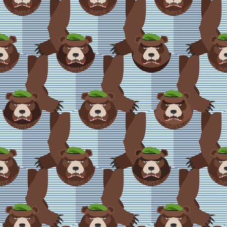 berets: Russian soldiers bears in Green Berets. Seamless pattern of animals. Vector illustration Illustration