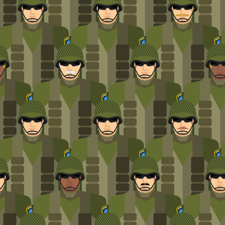 us army: Marines seamless pattern. Soldiers in helmets and bulletproof vests. Military people vector illustration. US Army.