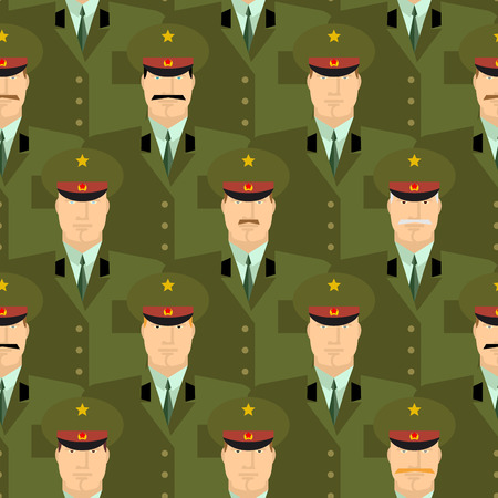 Russian military officers seamless pattern. Army background of people in uniform. Vector background. Russian soldiers police in dress uniform Illustration