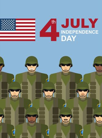 formation: 4th july. American independence day. Soldiers with military camouflage uniform in army formation. Vector greeting card congratulations