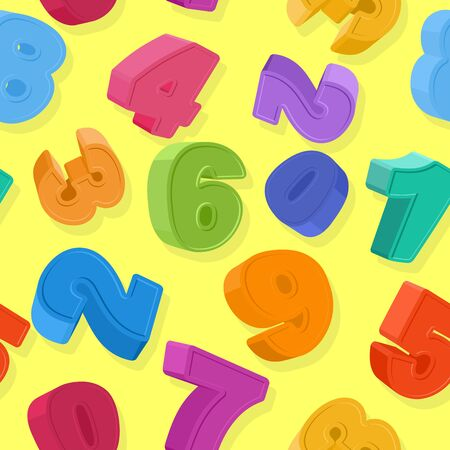 Background of colored numbers. Seamless pattern numbers for children. Vector illustration Vector