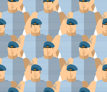 airborne: Russian military VDV. Strong Soldiers in blue berets and striped vests. The AIRBORNE TROOPS. Seamless pattern military people. Vector background.
