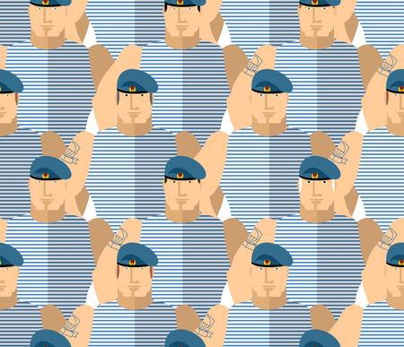 boinas: VDV militar rusa. Los soldados fuertes en boinas azules y chalecos a rayas. Las tropas aerotransportadas. Militares sin patr�n. Vector de fondo. Vectores
