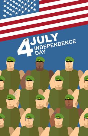 boinas: 04 de julio. D�a de la independencia americana. Soldados en Boinas Verdes. Fuerzas especiales. Bandera estadounidense. Tarjeta de felicitaci�n del vector Vectores