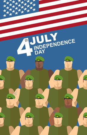 special forces: 4th july. American independence day. Soldiers in Green Berets. Special forces. American flag. Vector congratulations card