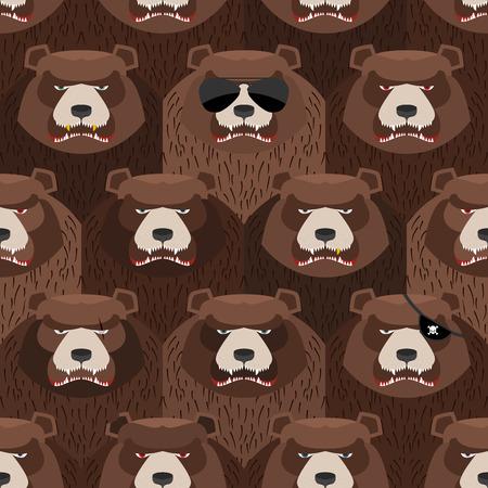 angry bear: Patr�n transparente de color marr�n oso enojado. Una bandada de osos malvados y asustadizos. Vector de fondo Vectores