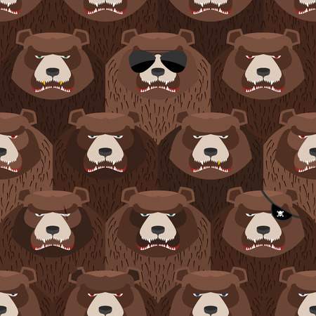 angry bear: Seamless pattern of brown angry bear. A flock of evil and scary bears. Vector background
