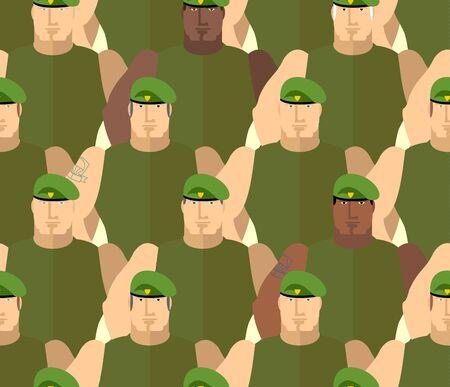 boinas: Soldados en Boinas Verdes. Fuerzas especiales. Ej�rcito de fondo sin fisuras de las personas. Marines en las camisetas verdes. Vector de fondo Militar