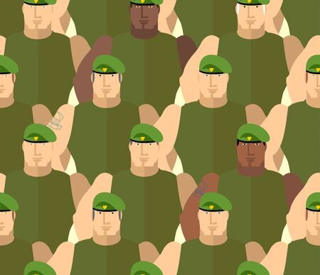 special forces: Soldiers in Green Berets. Special forces. Army seamless background of people. Marines in green tshirts. Military vector background