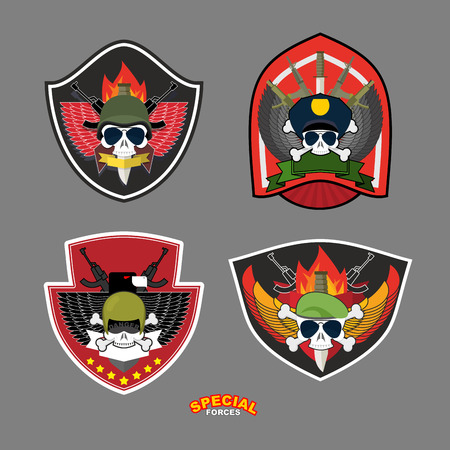 Set military and armed labels logo. Skull Eagle and weapons.Vector illustration Vector