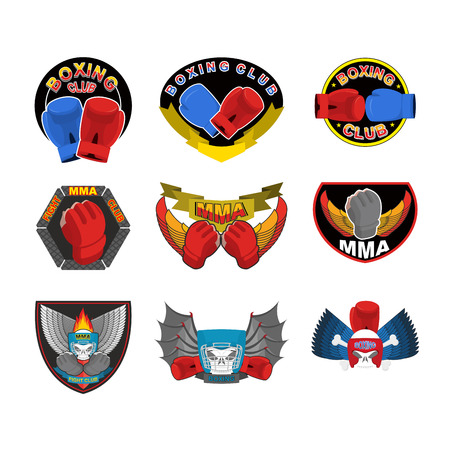 Set of boxing emblems logos and stripes. MMA fight club logo Vector