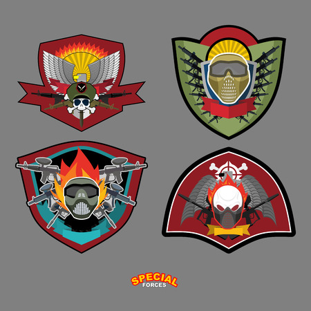 tactical: Set Army logo. Vector illustration. Arms and wings Illustration