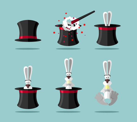 magician hat: Set magician: wand Topper and rabbit. Vector icon