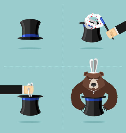 angry bear: Sequence of a magic trick. Instead of rabbit out of  hat was a bear. Top hat magician with magic wand. Rabbit in hat Vector illustration. Angry bear.