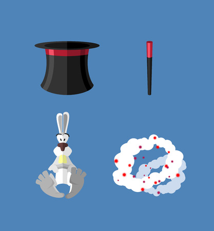 magician wand: Set magician: wand Topper and rabbit. Vector icon