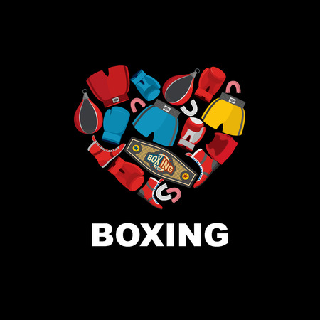 Symbol of the heart of boxing gear: helmet shorts and boxing gloves. I love boxing. Vector