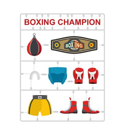 moulding: Boxing champion Plastic model kits. Vector illustration