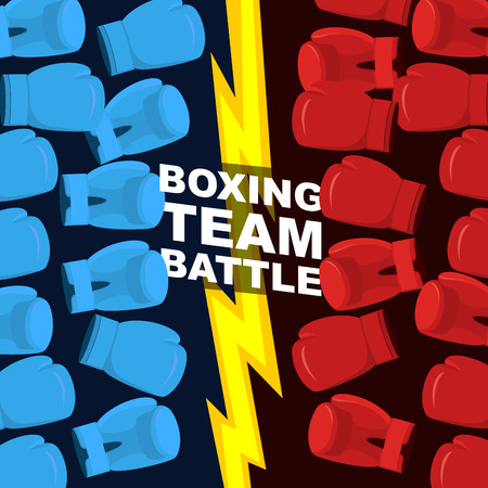 common vision: Boxing team battle. Blue and Red boxing gloves. Vector illustration