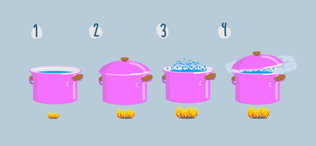 to boiling: Set cooking plates. Boiling water for various dishes. Vector illustration