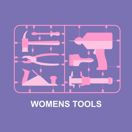 tool boxes: Pink tools. Set for women. plastic model kits for blondes. Vector illustration