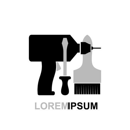 herramientas carpinteria: Herramientas de carpinter�a Destornillador cepillo taladro. Ilustraci�n del vector. Plantilla tienda herramienta conceptual.