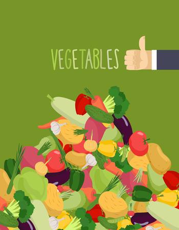proper: Mazzo verdure. Rape e zucca. Mano con il pollice in su un gesto positivo. Una corretta alimentazione di verdure