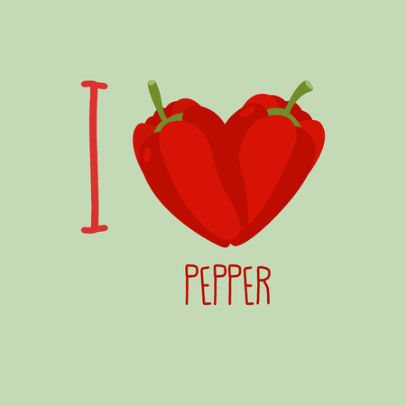 unpeeled: I love pepper. Heart of the sweet peppers. Vector illustration