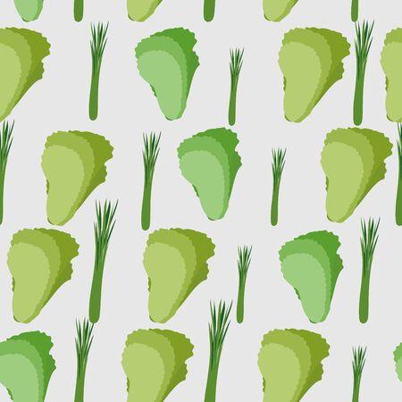 leaf lettuce: Background of green leaf lettuce. Vector seamless pattern of vegetables. Vector texture Illustration