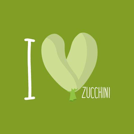 zucchini: I love Zucchini. Heart of green courgettes. Vector illustration