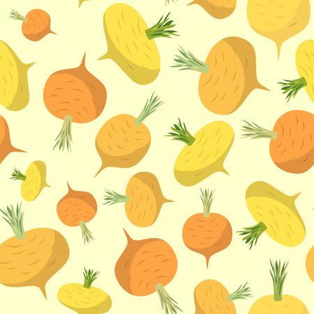 turnip: Turnip seamless pattern. Vegetable vector background ripe turnip