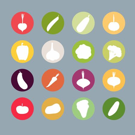 Vegetables silhouette icons Set.  Vector