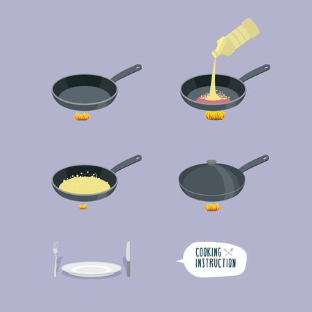 Universal cooking instruction in a frying pan. Vectores