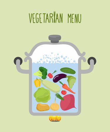 green vegetables: Vegetables in a saucepan. Illustration