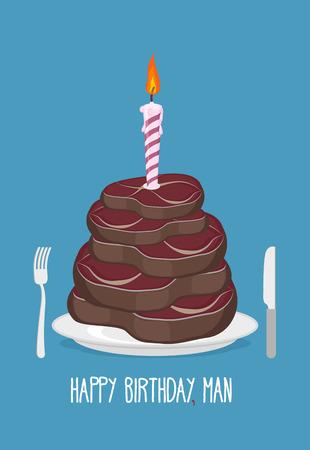 Cake cuts of meat. Happy birthday man. Delicious steaks. Congratulation card. Vector