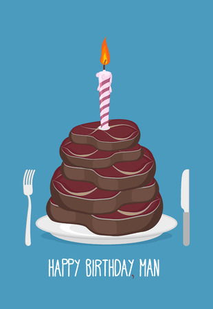 Cake cuts of meat. Happy birthday man. Delicious steaks. Congratulation card.