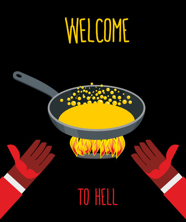 hades: Welcome to hell. Heated frying pan with boiling oil. Hands of Devils. Inviting gesture. Flame of  burning Hells for sinners.
