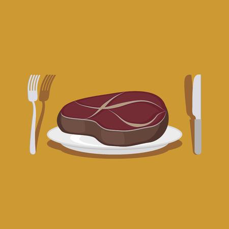 beef steak: Filete De Ternera. Cubiertos: cuchillo y tenedor.