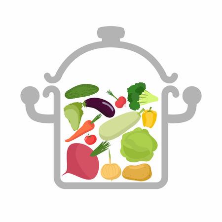 saucepan: Vegetables in a saucepan.  Illustration