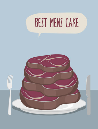 Best men cake. Cake of steaks. Pieces of meat in form of a cake.