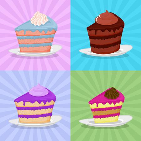 porcion de pastel: Establecer un pedazo de pastel en un plato. Pastel sobre un fondo brillante. Pastel de fresa. Pastel de chocolate en un estilo retro.