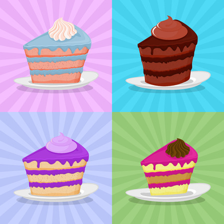 bright cake: Set a piece of cake on a plate. Cake on a bright background. Strawberry cake. Chocolate cake in a retro style.