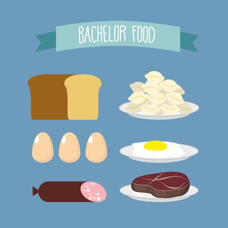 bachelor: Bachelor food. Set of products for food unmarried men: meat, eggs, and meat dumplings. Vector illustration Illustration