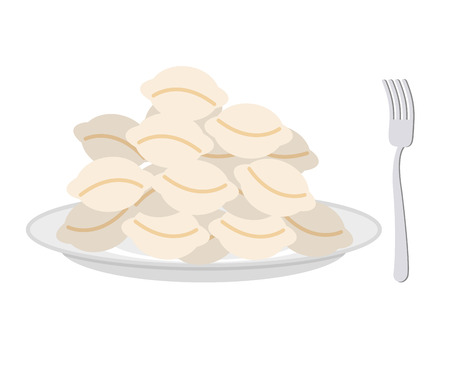 russian cuisine: Dumplings in a plate and fork on a white background. Vector illustration Illustration