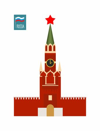 red square moscow: Tower of Moscow Kremlin. Sight Of Russia. Vector illustration