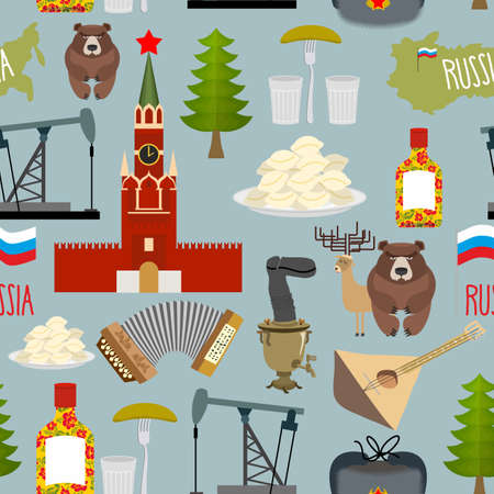 Russia sightseeing seamless pattern. The Moscow Kremlin and the Samovar oil pump and squeeze. Ushanka and balalaika. Vector background of Russian Federation. Vector